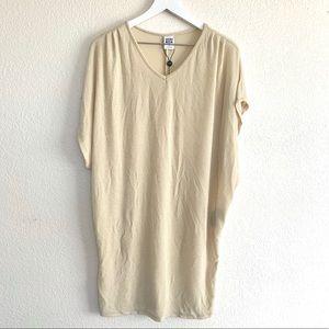 Vero Moda Beige Metallic Knit V Neck Mini Dress